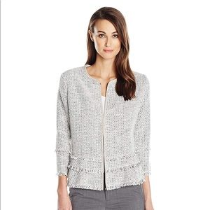 T Tahari Madeleine Tweed Jacket - Antique Silver